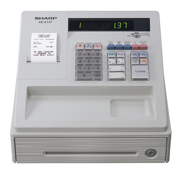 Registrierkasse Sharp XE-A137 XWH - lichtgrau - inkl. TSE Lizenz 3 Jahre - ohne Programmierung