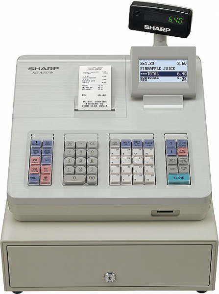 Registrierkasse Sharp XE-A207 XW - lichtgrau - inkl. TSE Lizenz 3 Jahre