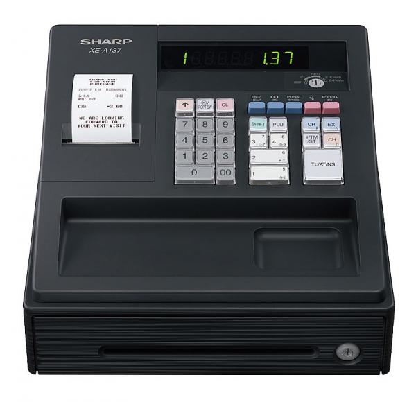 Registrierkasse Sharp XE-A137 XBK - anthrazit - inkl. TSE Lizenz 3 Jahre - ohne Programmierung