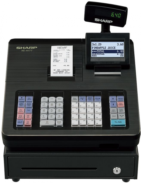 Sharp Registrierkasse XE-A177 XB anthrazit - ohne Programmierung - inkl. TSE Lizenz 3 Jahre