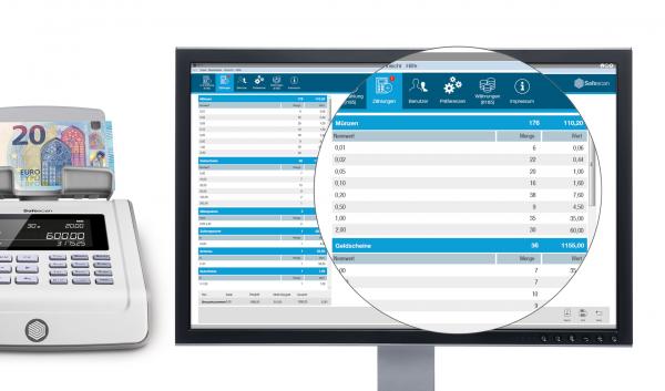 Safescan MCS Software für Geldzählmaschinen und Geldwaagen